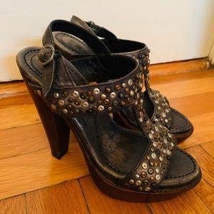 Frye Joy Studded Platform Heel Sandals - Size 5